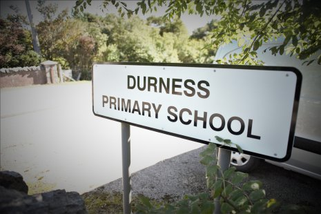 Durness Primary School sign