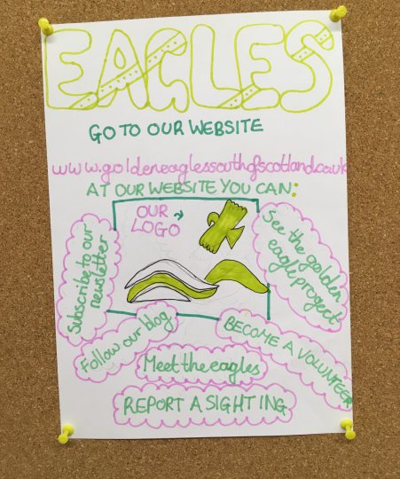 A poster promoting the South of Scotland Golden Eagle project created by a pupil from Moffat Primary School