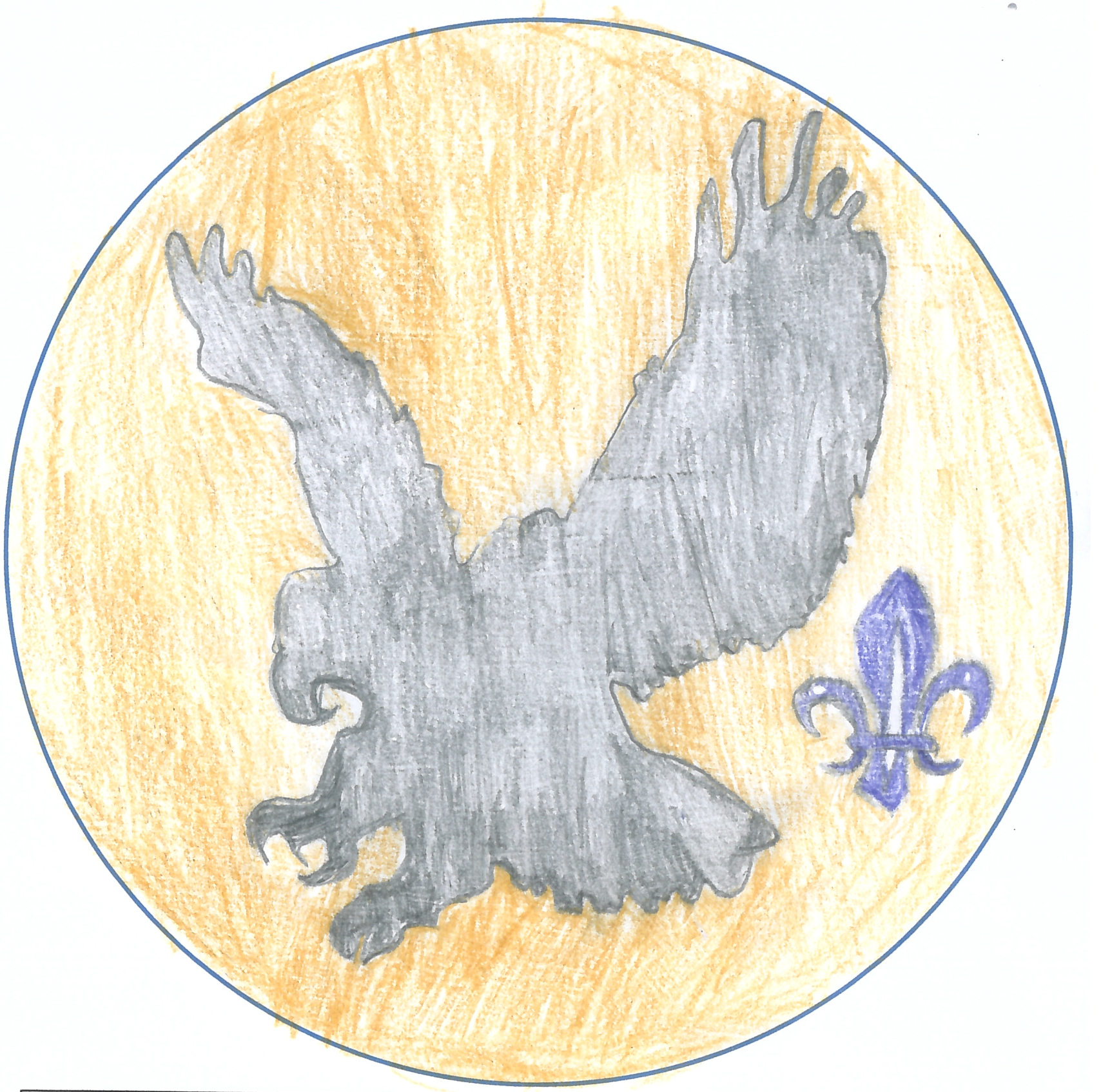 One of the entries for the 'Design the Badge' competition from Innerleithen Cubs. A black silhouetted eagle atop a golden background