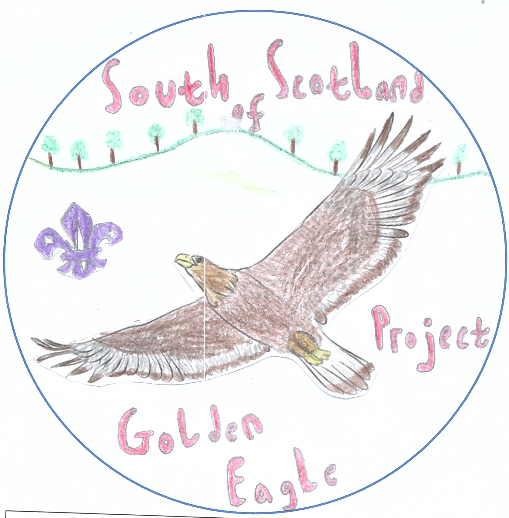 One of the entries for the 'Design the Badge' competition from Innerleithen Cubs. A soaring eagle across the rolling hills of the south of Scotland.