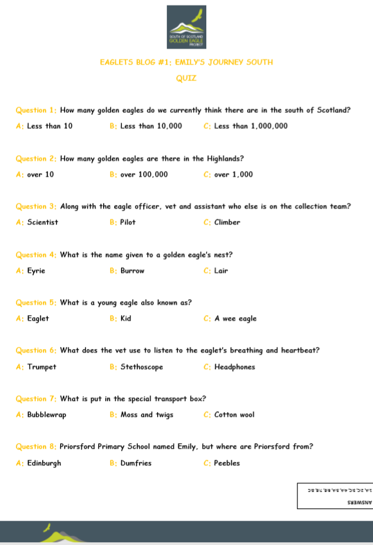 Eglets Quiz Sheet